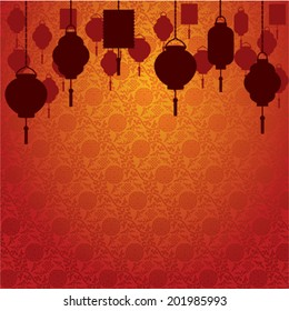 Chinese Lanterns On Traditional Wallpaper Background