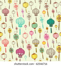 Chinese lanterns seamless background