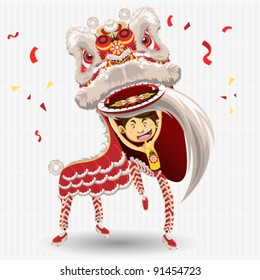 Chinese Lion dance Dancing celebrate new year