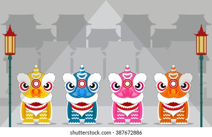 Chinese lion dance festival. vector and illustration