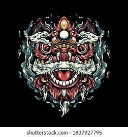 Chinese Lion Dance illustration for merchandise design or poster design
