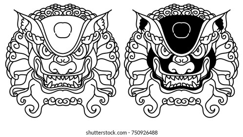 Chinese Lion traditional style.Lion face tattoo.Line art Chinese lion for tattoo.