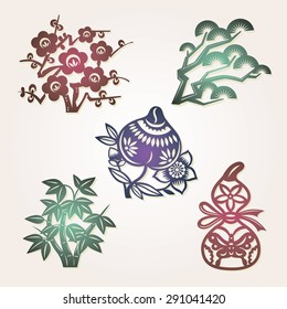 Chinese lucky symbols:peach (longevity); gourd (exorcise evil spirits); bamboo, plum flower, pine (three friends of Winter: symbols of resilience, perseverance)