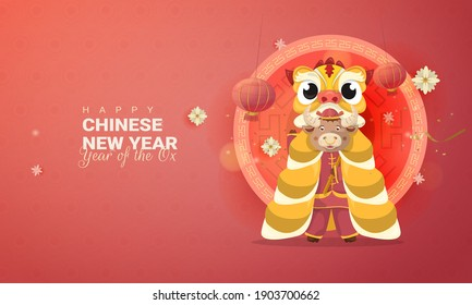 Chinese Lunar New Year 2021 year of the ox with barongsai or lion dance illustration for greeting card concept