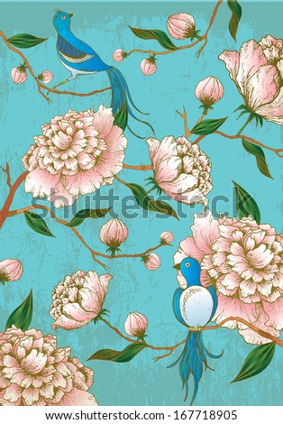 chinese lunar new year background peony flowers and birds hand drawn vectorillustration