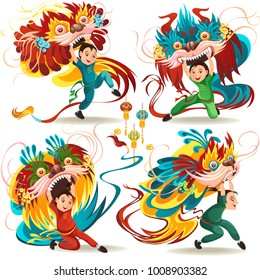 Chinese Lunar New Year Lion Dance Fight isolated on white background, happy dancer in china traditional costume holding colorful dragon mask on parade or carnival, cartoon style vector illustration