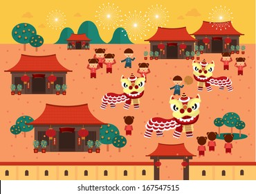 chinese lunar new year lion dance in chinese village with chinese character that reads wishing you a prosperous new year vector/illustration