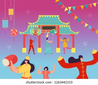 Chinese Lunar New Year People holding Dragon, Fish. Lion dance characters wearing china traditional costume on parade or carnival. Vector illustration