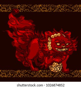 Chinese lunar new year postcard design template with foo dog smiling and holding a ball, ornamental asian style decoration background. Hand drawn rough line graphic art.