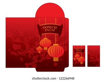 chinese lunar new year red packet template vector/illustration