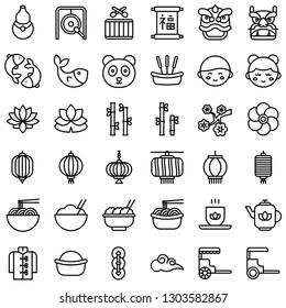 Chinese lunar new year vector icon set, line design