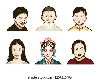 Chinese male and female faces in retro colors