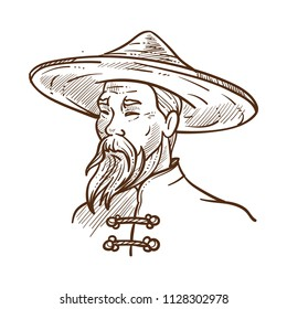 Chinese man wearing traditional clothes monochrome sketch vector illustration