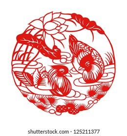 Chinese mandarin ducks (vector graphics)