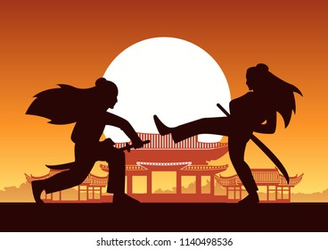 Chinese martial hero train fight each other front of ancient Chinese house on sunset time,silhouette style,vector illustration