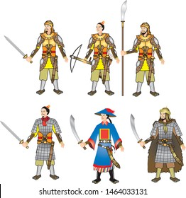 Chinese Medieval Warrior and armor set - Vector