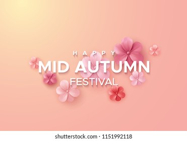 Chinese mid autumn festival banner design. Vector illustration of paper cut style flowers. Abstract asian holiday background