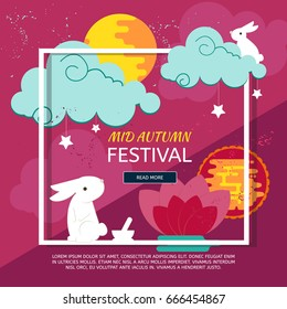 Chinese mid autumn festival design with rabbits, full moon and clouds. Abstract paper graphics concep for Mid Autumn festival (Chuseok). Vector creative banner for asian festival celebration.