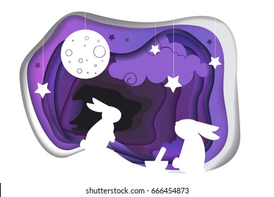Chinese mid autumn festival. Paper art concept. Creative vector illustration for asian mid autumn festival (Chuseok) celebration. Asian culture holiday illustration with rabit, stars and full moon.