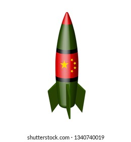 Chinese military missile in the vector. Nuclear missiles of China vector illustration.