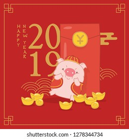 Chinese money red envelop and gold coins, Ang Pao with yuan. Elements for New Year's design in Chinese style, year of the pig isolated. Traditional gift on Chinese New Year for lucky, prosperity.