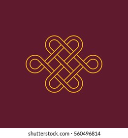 Chinese mystic knot Minimalistic Flat Line Stroke Icon Pictogram Illustration