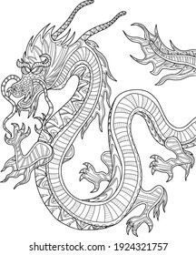 Chinese national dragon with beautiful patterns.  This is an anti stress coloring book for adults, also an example of a tattoo.