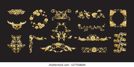 Chinese national ornament. Set of elements.  In gold and black Vector illustration in gold colors.