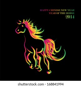 Chinese New Year 2014. Running rainbow colors running horse over black background. EPS10 vector file with transparency layers.