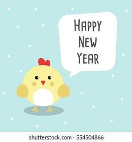 Chinese New Year 2017 Cards with Cute chicken and bubble speech Vector Illustration.