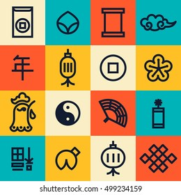 Chinese New Year 2017 cute modern linear icons. Translation: year, happiness. Chinese Nee Year of there Rooster. Main Chinese New year Symbols.