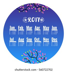 Chinese New Year, 2017. Peach blossom in China is a symbol of romance, love and long life. Hand drawn sketchy cartoon clip-art in circle, vector template. Calendar for 2017, week starts on Monday