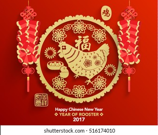 Chinese New Year 2017 Year of Rooster Vector Design (Chinese Translation: Year of Rooster; Prosperity)