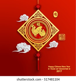 Chinese New Year 2017 Vector Design (Chinese Translation: Year of Rooster; Prosperity)