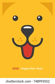 Chinese New Year 2018 bright greeting card, banner or poster design with cute happy dog face illustration.