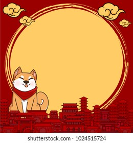 Chinese New Year 2018 Year of Dog Vector Design with copy space for text and Cloud in China town Concept design on red Square background