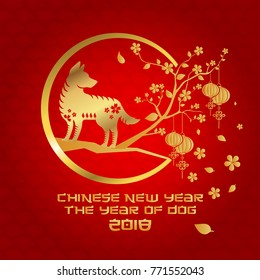 Chinese New Year 2018 Dog Year Banner and Card Design, Suitable For Social Media, Banner, Flyer, Card, Party Invitation and Other Chinese New Year Related Occasion