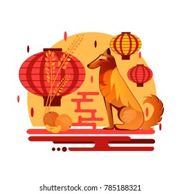 Chinese New Year 2018 dog concept. Flat style iilustration with dog, mandarin and chinese lantern. Christmas and new year party concept design with animal and fruit.