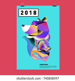 Chinese New Year 2018 Festive Vector Card Design with Cute dog. Zodiac Logo and Symbol of 2018 year
