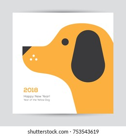 Chinese New Year 2018 greeting card or banner design with cute dog head illustration.