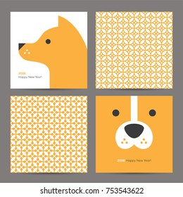Chinese New Year 2018 greeting cards set with cute dog head and geometric seamless pattern.