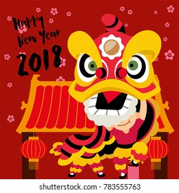 Chinese new year 2018. Lion Dance in China Town background. Happy Chinese New Year 2018