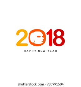 Chinese new year 2018 Text Design Vector illustration