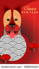 Chinese New Year 2018 Vertical Banners Elements. Vector illustration. Asian Lantern, Clouds and Patterns in Modern Style, Red and Gold. Hieroglyph Zodiac Sign Dog