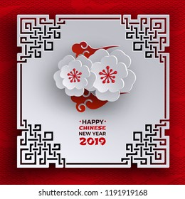Chinese New Year 2019 banner. Oriental frame, sakura cherry flowers, red pattern background, chinese clouds. Design element for greeting card, banner, poster. Paper cut out style, vector illustration
