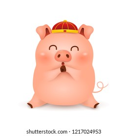 Chinese New Year 2019. Cute cartoon Little Pig character design with traditional Chinese red hat greeting isolated on white background. The year of the pig. Gong Xi Gong Xi. Zodiac of the Pig.
