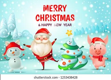 Chinese new year 2019. Dance pig, Santa Claus, snowman and fir-tree. 3d vector cartoon illustration.