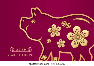 Chinese new year 2019 greeting design, traditional chinese zodiac pig year paper art and golden flowers