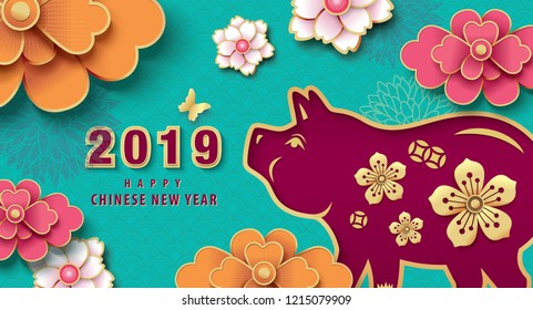 Chinese new year 2019 greeting design, traditional chinese zodiac pig year paper art and beautiful flowers background