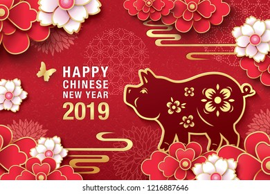 Chinese new year 2019 greeting design, traditional chinese zodiac pig year paper art and blossom flowers background